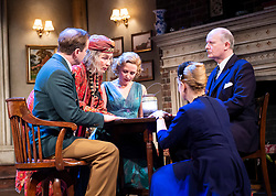 Blithe Spirit <br /> <br /> Noël Coward's classic comedy <br /> Blithe Spirit at The Duke of York's Theatre, London, Great Britain <br /> 6th March 2020 <br /> Press photocall <br /> directed by Sir Richard Eyre<br /> <br /> Opens on 10th March 2020 to 11th April 2020 <br /> <br /> Jennifer Saunders as Madame Arcati <br /> Lisa Dillon as Ruth Condomine<br /> Geoffrey Streatfeild as Charles<br /> Lucy Robinson as Mrs Bradman<br /> Simon Coates as Dr Bradman<br /> <br /> <br /> <br /> Photograph by Elliott Franks