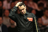 Ronnie O'Sullivan (Eng) looks on.  Ronnie O'Sullivan (Eng) v Neil Robertson (Aus), Quarter-Final match at the Dafabet Masters Snooker 2017, at Alexandra Palace in London on Thursday 19th January 2017.<br /> pic by John Patrick Fletcher, Andrew Orchard sports photography.