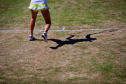 LIVERPOOL, ENGLAND - Sunday, June 24, 2018: The shadow fo Ellie Tsimbilakis (GBR) during day four of the Williams BMW Liverpool International Tennis Tournament 2018 at Aigburth Cricket Club. (Pic by Paul Greenwood/Propaganda)