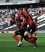 Milton Keynes Dons/Huddersfield Town League One 22.04.11<br />Photo: Tim Parker Fotosports International<br />Lee Peltier Huddersfield celebrates 2nd goal with team mates