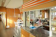 Kitchen cabin on-board the BAM (Baikal-Amur Mainline) Siberia, Russia