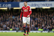 Chris Smalling of Manchester United looks on. Barclays Premier league match, Chelsea v Manchester Utd at Stamford Bridge in London on Sunday 7th February 2016.<br /> pic by John Patrick Fletcher, Andrew Orchard sports photography.