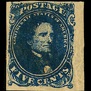 Confederate postage stamp, 5 cent dark blue, general issue 1862, type 4. Postage stamp depicts Jefferson Davis printed in dark blue. Printer information suggested by Dietz, A. Postal service of the Confederate States of America. Richmond, Va. : Dietz Printing Co., 1929.