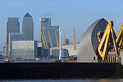 © Licensed to London News Pictures. 02/01/2014. The Thames Barrier has been closed to protect parts of London from flooding. It is the first closure of the flood protection gates of 2014 and is in response to high water levels recorded on the Thames and the Spring Tides. Credit : Rob Powell/LNP