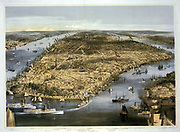 City of New York, c1856.  Bird's-eye view with Battery Park in the foreground and  Brooklyn Heights, lower right. Currier & Ives print. Transport Water Shipping Paddle Steamer Sail