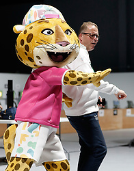 BUENOS AIRES, Oct. 10. 2018  Youth Olympic Games mascot (L) dances after the women's 10m air pistol final at the 2018 Summer Youth Olympic Games in Buenos Aires, Argentina on Oct. 9, 2018. (Credit Image: © Xinhua via ZUMA Wire)