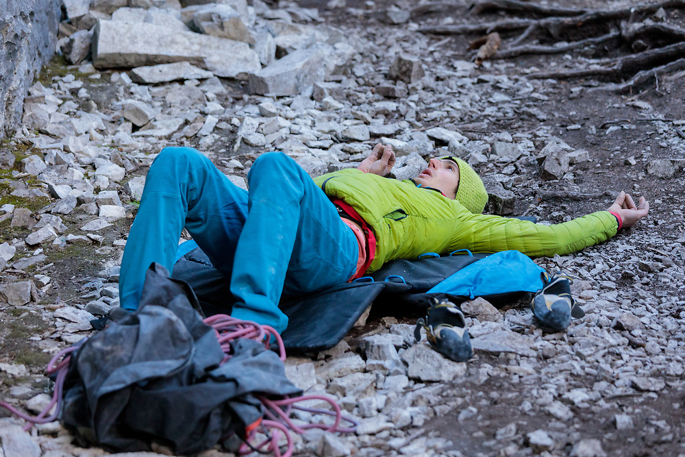 Adam Ondra visualizing the send on a new 5.15b at Acephale, Canmore, Alberta