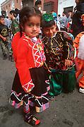 PERU, TRUJILLO, FESTIVALS children in parade on Plaza de Armas