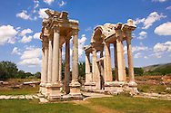 """Picture of the double Tetrapylon Gate, Aphrodisias, Turkey. A tetrapylon (Greek: Τετράπυλον, """"four gates"""") is an ancient type of Roman monument of cubic shape, with a gate on each of the four sides: generally it was built on a crossroads. stock photos & photo art prints. 4"""