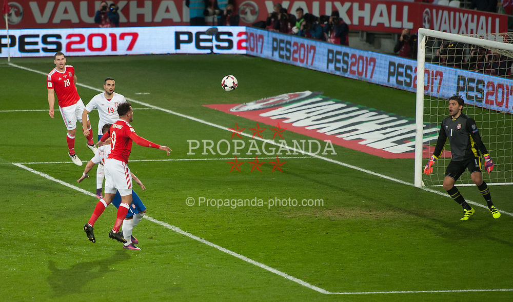 CARDIFF, WALES - Saturday, November 12, 2016: Wales Hal Robson-Kanu in action against Serbia during the 2018 FIFA World Cup Qualifying Group D match at the Cardiff City Stadium. (Pic by Ian Cook/Propaganda)