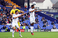 Tranmere Rovers' Michael Ihiekwe gets his head to the ball. Skybet football league two match, Tranmere Rovers v Exeter city at Prenton Park in Birkenhead, the Wirral on Saturday 20th Sept 2014.<br /> pic by Chris Stading, Andrew Orchard sports photography.