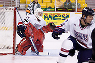 October 13, 2007 - Anchorage, Alaska:  Goalie Wes Russell (30) of the Robert Morris Colonials in the 4-1 win over Wayne State in the 3rd game of the Nye Frontier Classic at the Sullivan Arena.  RMU would go on to be the Classic Champions after host Alaska-Anchorage tied with Boston University in the 4th game of the Classic.