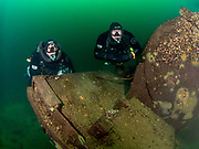 LungFish rebreather divers on the tanker truck wreck at Dutch Springs, Scuba Diving Resort in Pennsylvania