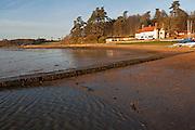 Ramsholt Arms pub winter sunset, River Deben, Ramsholt, Suffolk, England