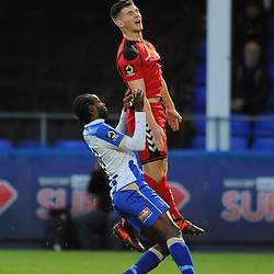 TELFORD COPYRIGHT MIKE SHERIDAN 12/1/2019 - Ross White of AFC Telford battles for the ball with Niko Muir during the Vanarama Conference North fixture between AFC Telford United and Hartlepool United at the Super Six Stadium.