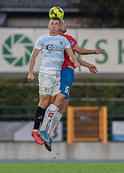 Sebastian Czajkowski (FC Helsingør) og Matti Olsen (Hvidovre IF) under kampen i 1. Division mellem Hvidovre IF og FC Helsingør den 15. september 2020 på Pro Ventilation Arena, Hvidovre Stadion (Foto: Claus Birch).