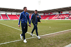 Tom Broadbent and Adam Smith of Bristol Rovers arrive at The Keepmoat Stadium for his side's fixture against Doncaster Rovers - Mandatory by-line: Robbie Stephenson/JMP - 27/01/2018 - FOOTBALL - The Keepmoat Stadium - Doncaster, England - Doncaster Rovers v Bristol Rovers - Sky Bet League One