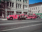 CH0004. Central Fire Station fire house, 905 SW 4th, corner of Taylor. Photographed before this station moved to a new location in 1950. Portland, Oregon