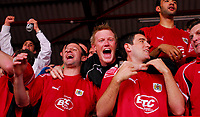Photo: Leigh Quinnell.<br /> Bristol City v Rotherham United. Coca Cola League 1. 05/05/2007. Bristol Citys Louis Carey, Andy Smith and  Lee Johnson celebrate winning promotion to the championship.