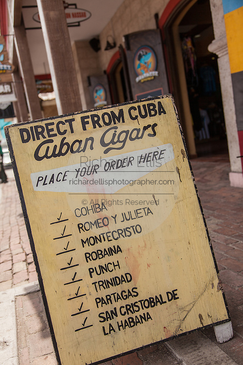 Advertisement for Cuban Cigars aimed at American tourists in Nassau , Bahamas.