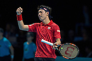 Kei Nishikori of Japan fist clench during day four of the Barclays ATP World Tour Finals at the O2 Arena, London, United Kingdom on 16 November 2016. Photo by Martin Cole.