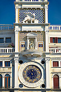 The early renaissance clock tower of Torre dell' Orologio, San Marco district, Venice, UNESCO World Heritage Site, Venetia, Italy, Europe .<br /> <br /> Visit our ITALY HISTORIC PLACES PHOTO COLLECTION for more   photos of Italy to download or buy as prints https://funkystock.photoshelter.com/gallery-collection/2b-Pictures-Images-of-Italy-Photos-of-Italian-Historic-Landmark-Sites/C0000qxA2zGFjd_k