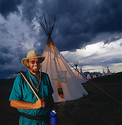 Paleontologist Jack Horner at his teepee encampment on Egg Mountain near Choteau, Montana.  Jack was much of the inspiration for Michael Crighton's Jurassic Park novel.