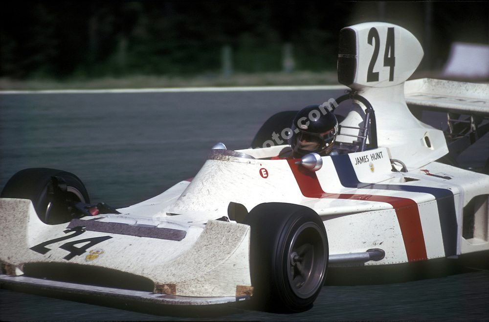 James Hunt (Hesketh-Ford) in the 1974 Swedish Grand Prix at Anderstorp. Photo: Grand Prix Photo