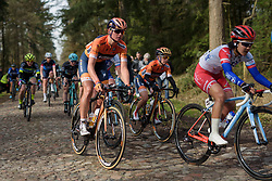Chantal Blaak approaches the end of the first cobbled section at Ronde van Drenthe 2017. A 152 km road race on March 11th 2017, starting and finishing in Hoogeveen, Netherlands. (Photo by Sean Robinson/Velofocus)