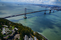 San Francisco-Oakland Bay Bridge with Treasure Island (Aerial)