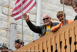 Jan and Jerry Crawford in Deadwood during the 78th annual Sturgis Motorcycle Rally. Sturgis, SD. USA. Monday August 6, 2018. Photography ©2018 Michael Lichter.