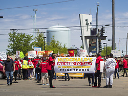May 23, 2019 - Urbandale, Iowa, U.S - Union activists march to a McDonald's in Urbandale, a Des Moines suburb, to protest for a $15 an hour minimum wage and better worker safety in McDonald's. The activists were accompanied by Bill de Blasio, the mayor of New York City. De Blasio participated in a picket of a McDonald's, calling on the fast food chain to raise its minimum wage to $15.00 per hour and improve worker safety. He joined the field of Democrats vying to be the party's candidate in the 2020 presidential election last week. Iowa traditionally hosts the the first election event of the presidential election cycle. The Iowa Caucuses will be on Feb. 3, 2020. (Credit Image: © Jack Kurtz/ZUMA Wire)