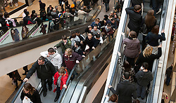 © under licence to London News Pictures 12/12/2010 Christmas shoppers were out in force today (Sunday) as car parks were full and the streets packed with shoppers looking for Christmas presents. Picture shows shoppers filling the escalators in Birmingham`s Bullring shopping centre..Picture credit: Dave Warren/London News Pictures...