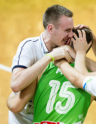 Matej Likar and  Gezim Morina of Slovenia celebrate after winning the basketball match between National teams of Turkey and Slovenia in Qualifying Round of U20 Men European Championship Slovenia 2012, on July 17, 2012 in Domzale, Slovenia. Slovenia defeated Turkey 72-71 in last second of the game. (Photo by Vid Ponikvar / Sportida.com)