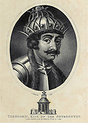 Theodoric (or Theoderic) the Great (454 – 30 August 526), also called Theodoric the Amal (Latin: Flāvius Theoderīcus, Greek: Theuderichos), was king of the Ostrogoths (471–526), and ruler of the independent Ostrogothic Kingdom of Italy between 493–526, regent of the Visigoths (511–526), Copperplate engraving From the Encyclopaedia Londinensis or, Universal dictionary of arts, sciences, and literature; Volume VIII;  Edited by Wilkes, John. Published in London in 1810.