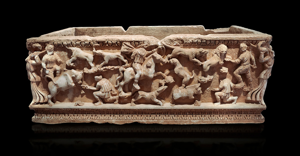 Roman relief sculpted sarcophagus with hunting scene, 2nd century AD, Perge, inv A167. Antalya Archaeology Museum, Turkey. Against a black background. .<br /> <br /> If you prefer to buy from our ALAMY STOCK LIBRARY page at https://www.alamy.com/portfolio/paul-williams-funkystock/greco-roman-sculptures.html . Type -    Antalya    - into LOWER SEARCH WITHIN GALLERY box - Refine search by adding a subject, place, background colour, etc.<br /> <br /> Visit our ROMAN WORLD PHOTO COLLECTIONS for more photos to download or buy as wall art prints https://funkystock.photoshelter.com/gallery-collection/The-Romans-Art-Artefacts-Antiquities-Historic-Sites-Pictures-Images/C0000r2uLJJo9_s0