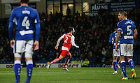 Fleetwood Town's Conor McLaughlin wheels away in celebration after opening the scoring<br /> <br /> Photographer Alex Dodd/CameraSport<br /> <br /> The EFL Sky Bet League One - Chesterfield v Fleetwood Town - Tuesday 18th October 2016 - Proact Stadium - Chesterfield<br /> <br /> World Copyright © 2016 CameraSport. All rights reserved. 43 Linden Ave. Countesthorpe. Leicester. England. LE8 5PG - Tel: +44 (0) 116 277 4147 - admin@camerasport.com - www.camerasport.com