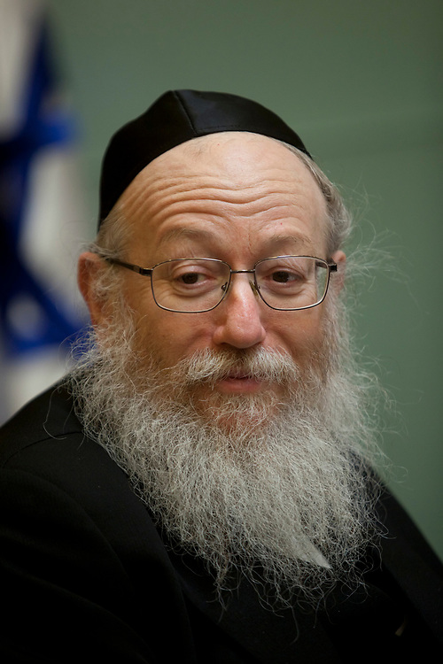 Deputy Minister of Health, Yaakov Litzman attends a session of the Finance Committee at the Knesset, Israel's parliament in Jerusalem, on July 2, 2012.