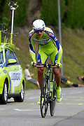 France, Talloire, 23 July 2009: Roman Kreuziger (Cze) Liquigas on the Côte de Bluffy climb during Stage 18 - a 40.5 km Annecy to Annecy individual time trial. Photo by Peter Horrell / http://peterhorrell.com .