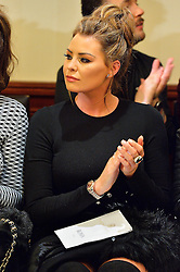 © Licensed to London News Pictures. 19/02/2016. JESSICA WRIGHT attends the KOLCHAGOV BARBA Autumn/Winter 2016 show. Models, buyers, celebrities and the stylish descend upon London Fashion Week for the Autumn/Winters 2016 clothes collection shows. London, UK. Photo credit: Ray Tang/LNP