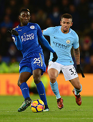 Wilfred Ndidi of Leicester City in action with Gabriel Jesus of Manchester City - Mandatory by-line: Alex James/JMP - 18/11/2017 - FOOTBALL - King Power Stadium - Leicester, England - Leicester City v Manchester City - Premier League