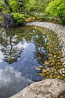 Samukawa Shrine Pond Garden - Kantakeyama is the formal offical name of the Japanese garden at Samukawa Shrine near Chigasaki, Kanagawa-ken.  The pond garden's centerpiece is a multi tiered waterfall cascade.  The shrine itself is ancient and has the interesting characteristic of saying prayers to protect one from evil, one of the few Shinto shrines in Japan to actually have rituals to perform this, the unique ceremony is called Happoyoke.