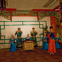 The famous Mongolian dance and musical troupe, Tumen Ekh, performs in Ulaanbaatar.