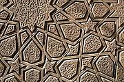 Detail of geometrical timber design on the door of Masjid-e-Jamé Mosque. Yazd, Iran, 2008