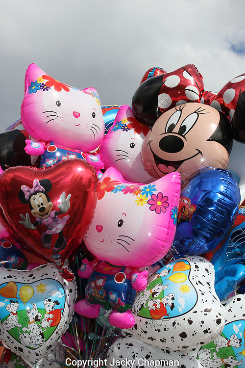 A selection of  different shaped and coloured balloons on sale
