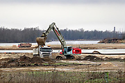 Nederland, Nijmegen, Kekerdom, 6-2-2019Herinrichting Millinger Waard . Het gebied wordt nog meer voorzien van geulen waar water in kan overlopen en natuur een eigen ecosysteem kan ontwikkelen . Staatsbosbeheer en rijkswaterstaat  leggen natuurgebieden aan in de uiterwaarden van de grote rivieren . Nadere uitwerking rivierengebied. Natuurnetwerk, rivierprojecten, natuurontwikkeling in de uiterwaarden en rivierverruimende projecten voor een betere afvoer van het water . Ruimte voor de rivier . Foto: Flip Franssen