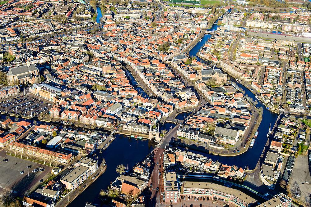 Nederland, Friesland, Sneek, 28-02-2016; overzicht binnestad Sneek met Waterpoort, Martinikerk en Martinuskerk.<br /> Sneek, small frisian town.<br /> <br /> <br /> luchtfoto (toeslag op standard tarieven);<br /> aerial photo (additional fee required);<br /> copyright foto/photo Siebe Swart