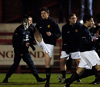 Photo: Jed Wee.<br /> Manchester United Reserves v Liverpool Reserves.<br /> 05/12/2005.<br /> <br /> Manchester United's Ole Gunnar Solskjaer warms up before his return from injury.
