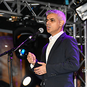 Speaker Mayor of London Sadiq Khan at the ceremony to light a sacred Menorah to celebrate Chanukah (Hanukkah), the eight-day Jewish Festival in Trafalgar Square, 5th December 2018, London, UK.