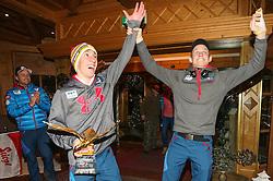 06.01.2014, Berghof, St. Johann Alpendorf, AUT, FIS Ski Sprung Weltcup, 62. Vierschanzentournee, Siegesfeier, im Bild Thomas Diethart (AUT) und Thomas Morgenstern (AUT) jubelt // Thomas Diethart (AUT) and Thomas Morgenstern (AUT) celebrates after Winning the 62nd Four Hills Tournament of FIS Ski Jumping World Cup at the Hotel Berghof, St. Johann Alpendorf, Austria on 2014/01/06. EXPA Pictures © 2014, PhotoCredit: EXPA/ JFK
